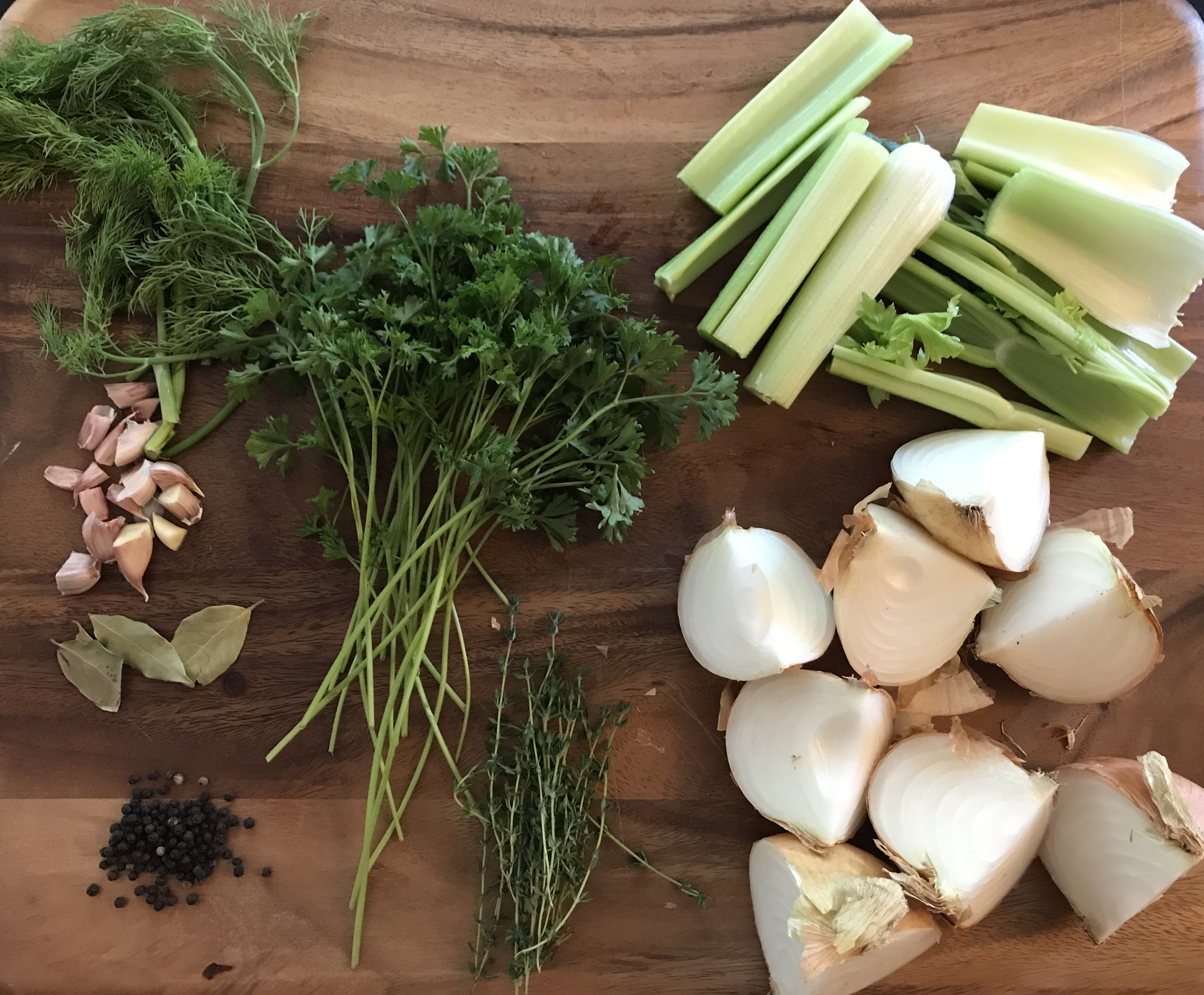 Ingredients for Rich and Golden Homemade Chicken Broth