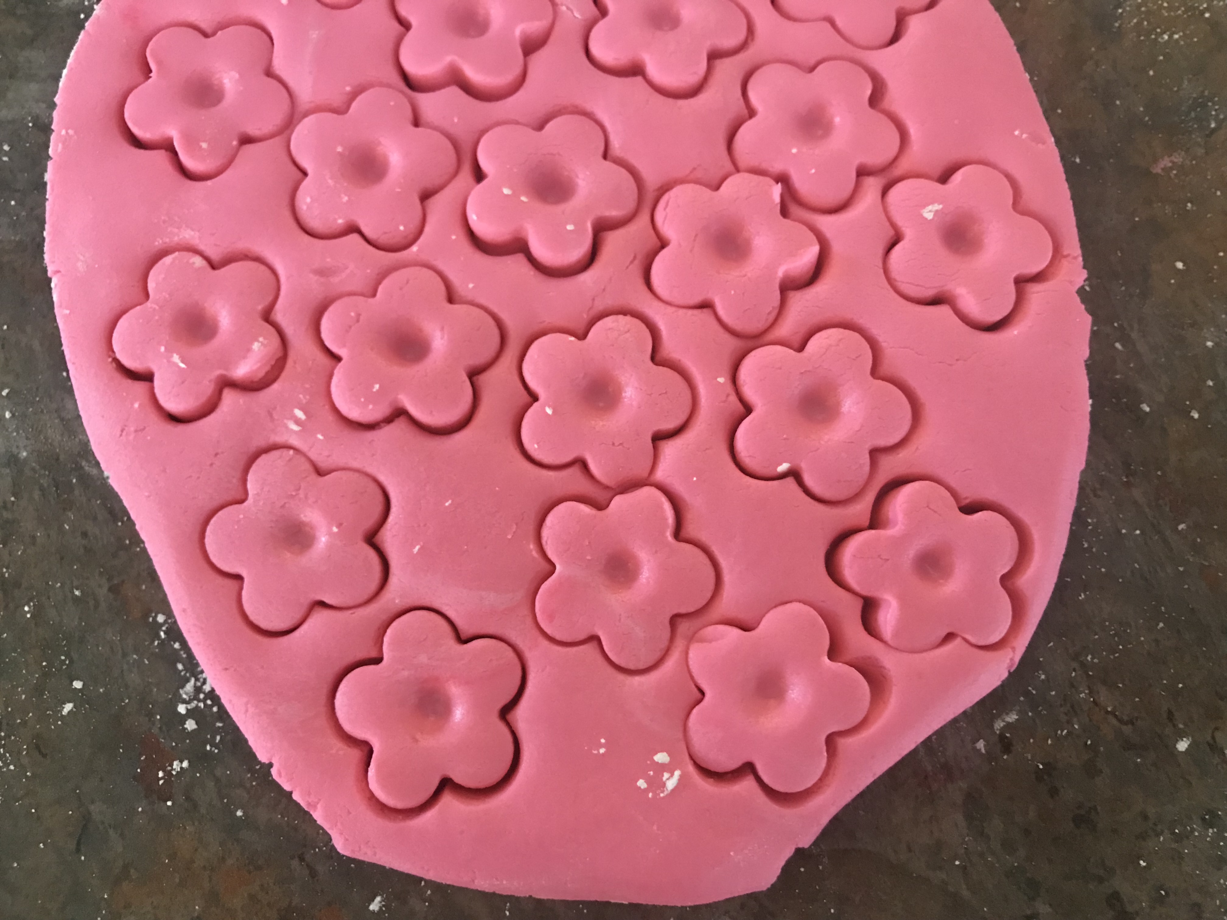 Butter Mint dough cut into flower shapes