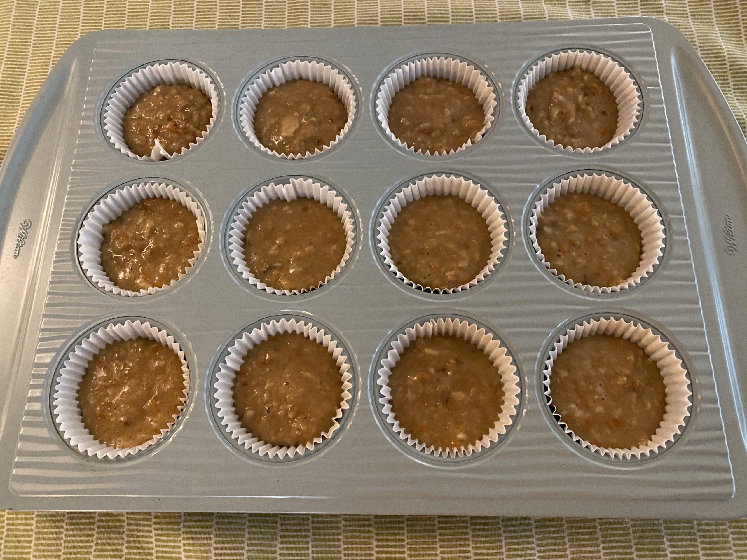 Fill cupcake liners 3/4 full