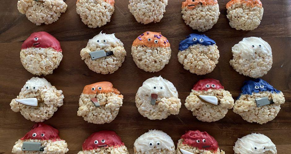 Creepy Rice Krispie Monsters and Halloween Treat Bags