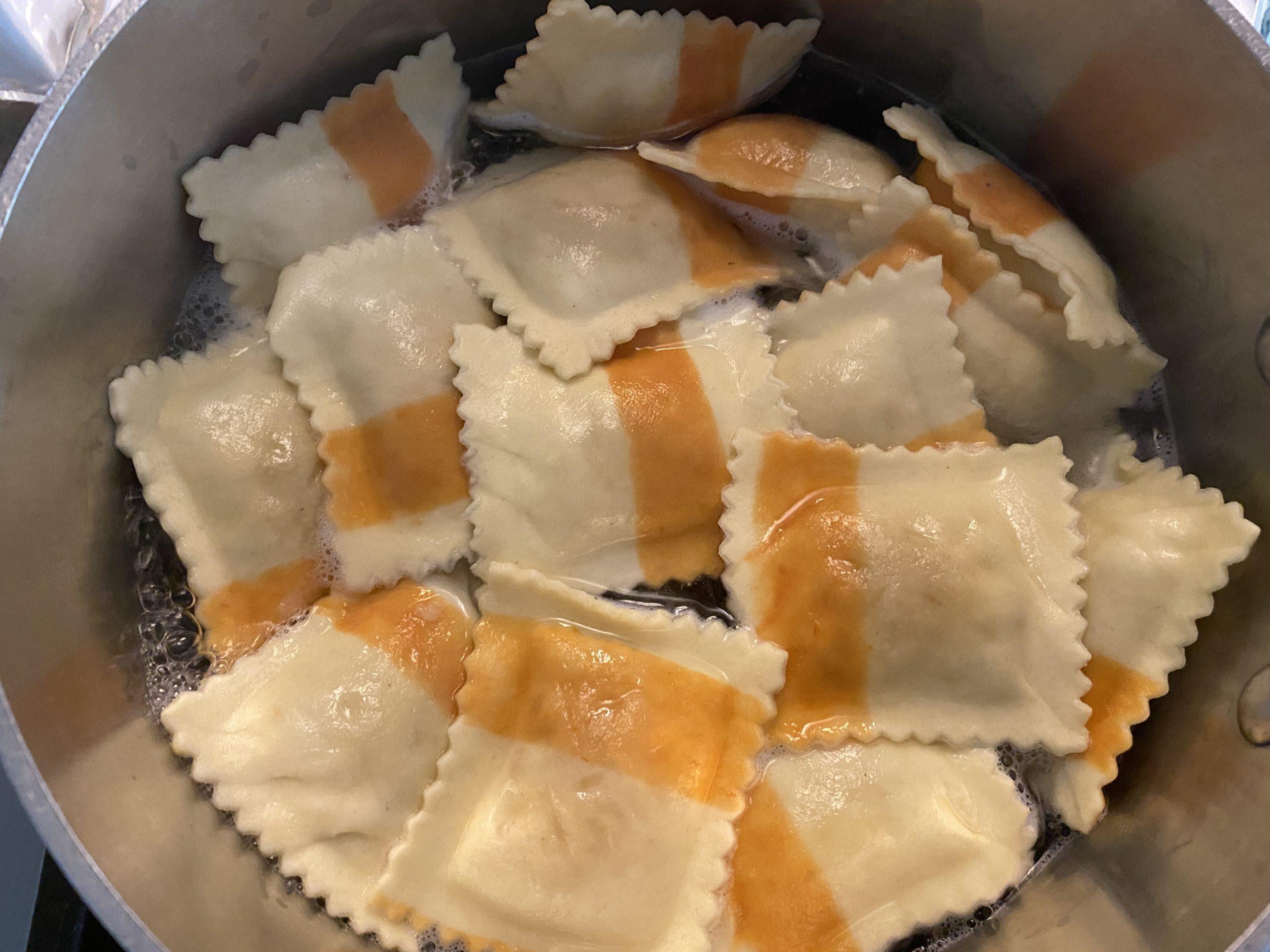 Caprese Ravioli with Parmesan cheese and basil