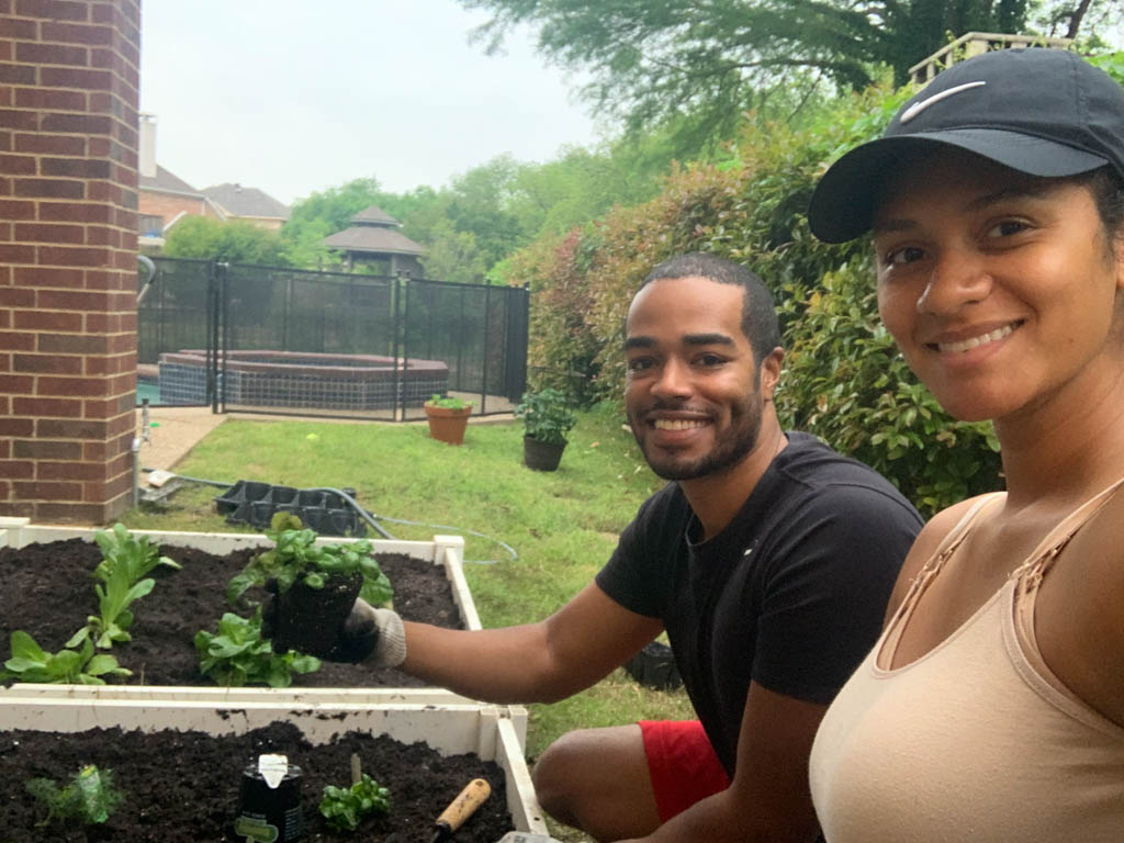 Robert and Jacqueline gardening