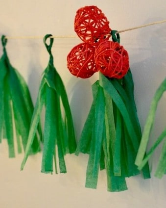 12 Frugal Days of Christmas Day 11: Holly Berry Tassel Garland