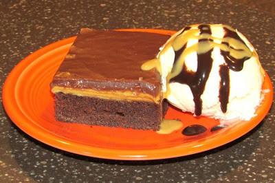 Chocolate PB cake and ice cream
