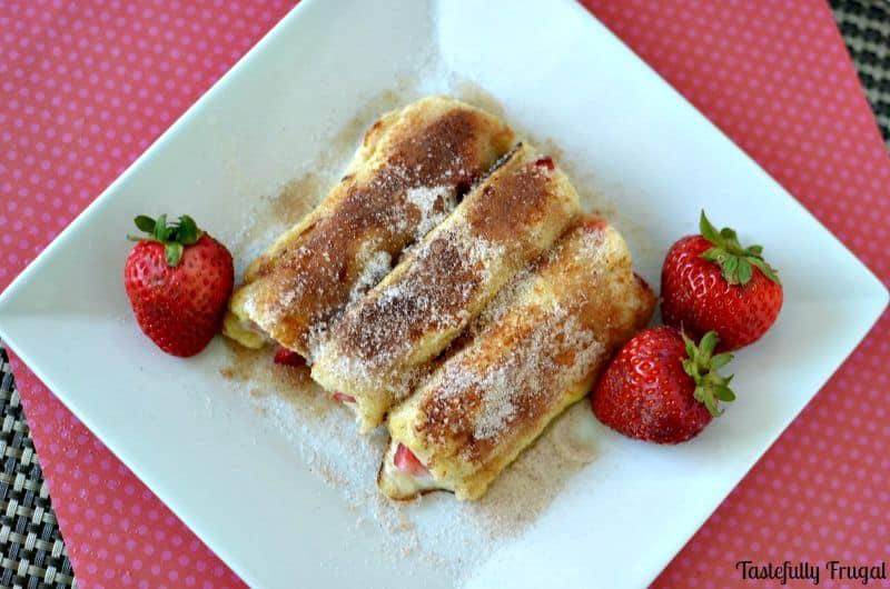 Strawberry French Toast Cannolis www.tastefullyfrugal.org