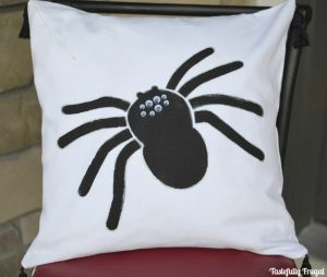 Glow In The Dark Spider Pillow | Day 12 of Tastefully Frugal's 13 Frightfully Fun Days of Halloween