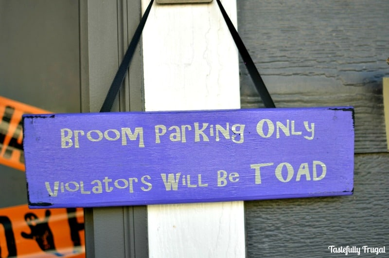 Broom Parking Only Sign | Day 10 of Tastefully Frugal's 13 Frightfully Fun Days of Halloween