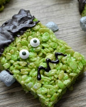 Frankenstein Rice Krispie Treats: The perfect addition to any Halloween gathering | Tastefully Frugal
