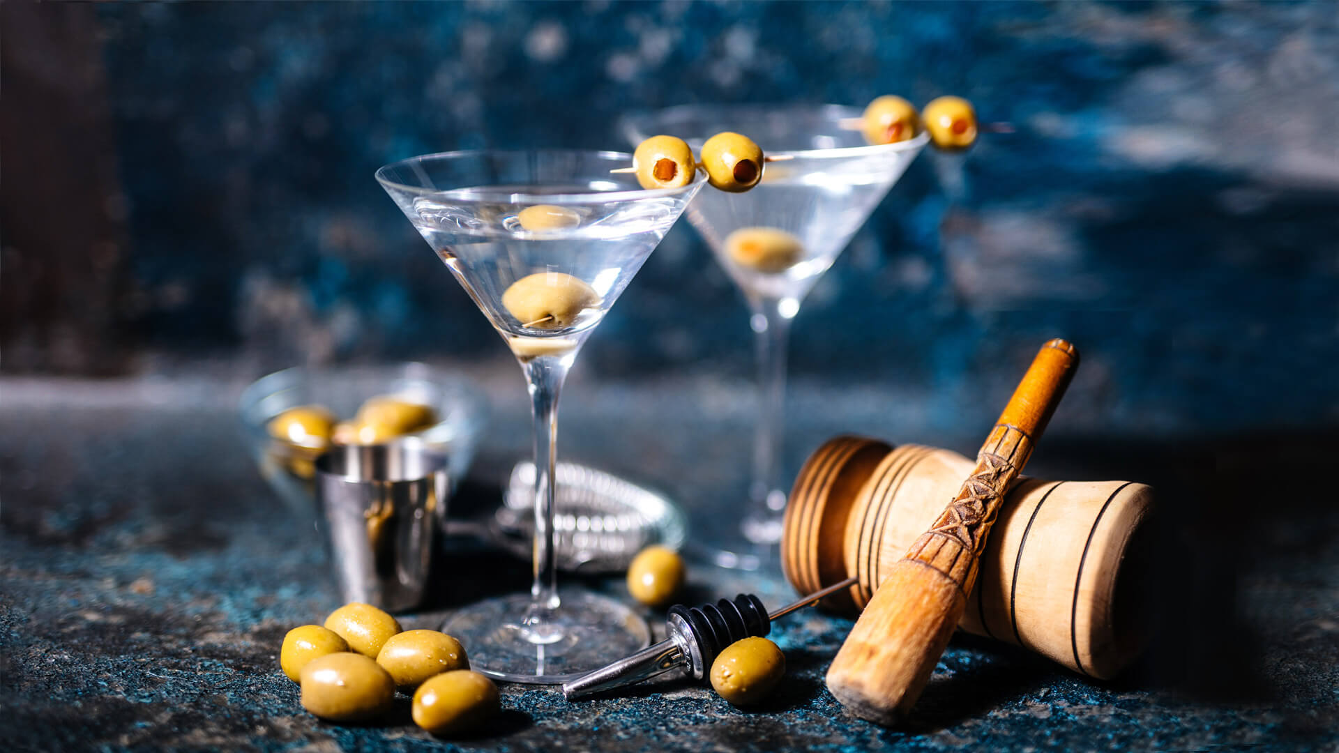 Martini Cocktail with olives in ambient setting