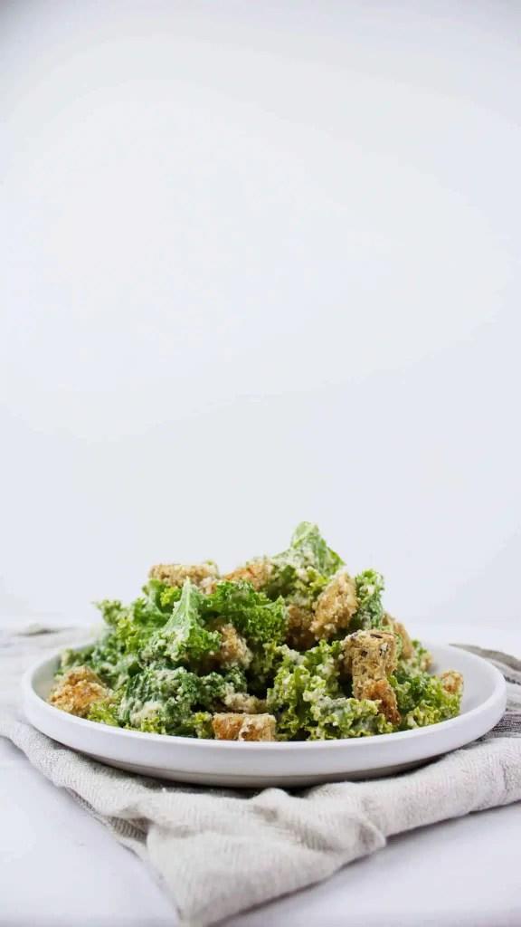 Easy kale vegan Caesar salad with roasted garlic