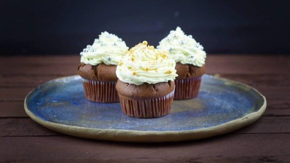 Easy chocolate muffins with cream cheese and mascarpone frosting.