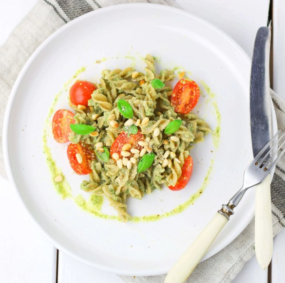Quick and easy vegan pasta salad with basil pesto.