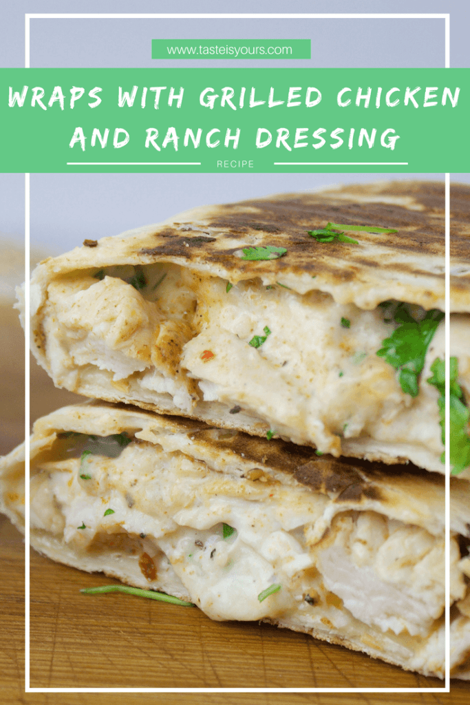 Wraps with grilled chicken and ranch dressing