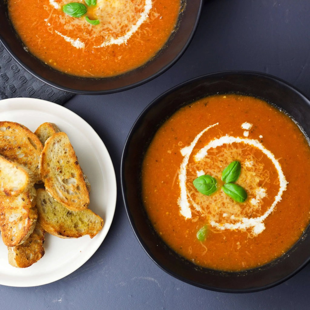 Best oven-roasted tomato soup with VeGaN Parmesan.