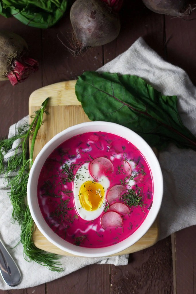 Polish cold beetroot soup (chlodnik), to serve during hot summer