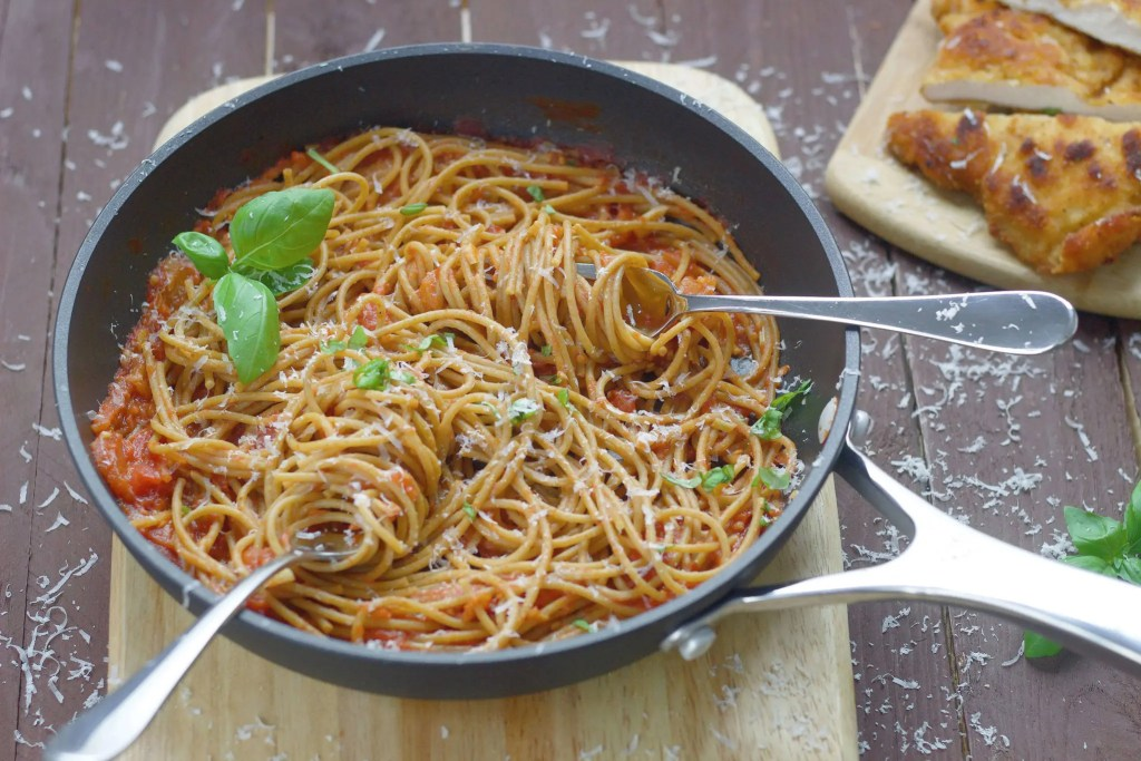 The best chicken Milanese with spaghetti and tomato sauce