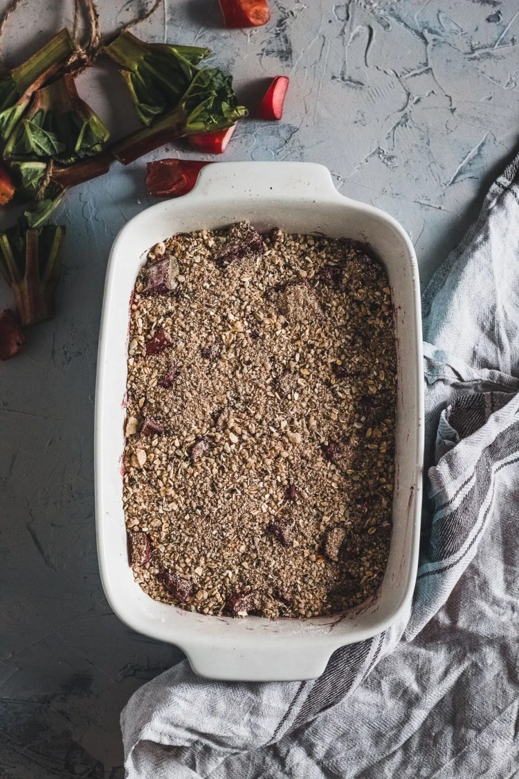 Rhubarb under butter coffee crumble.