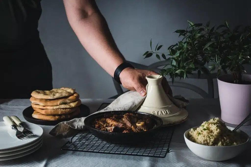 The best savory rhubarb lamb tajine with raisin couscous.