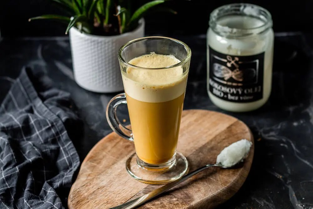 Easy and healthy bulletproof KETO coffee with coconut oil and turmeric.