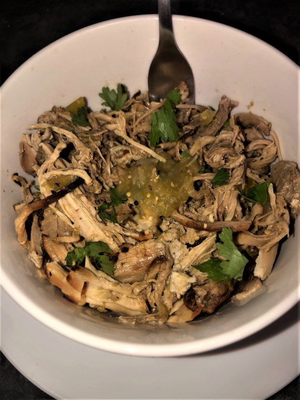 picture of shredded pork carnitas with Trader Joe's salsa verde with cilantro