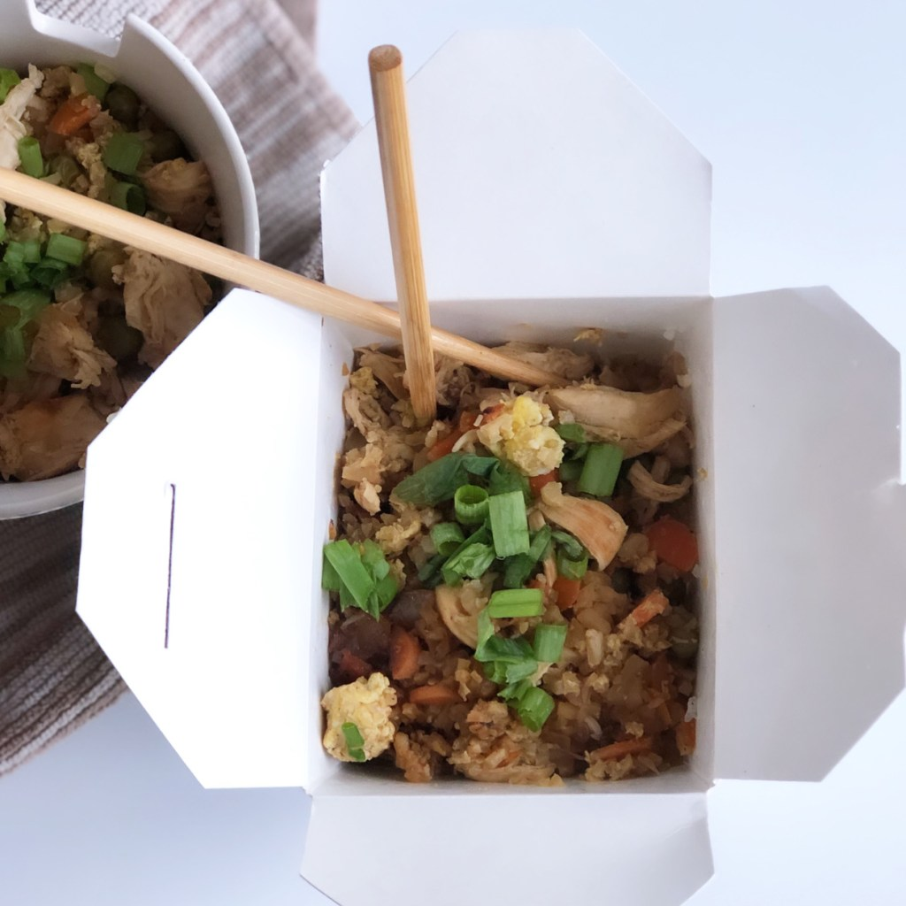 This is a picture of chicken cauliflower fried rice.