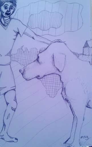 I did the dog first but messed up on the guy. I decided to make it into a more abstract background.
