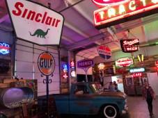 A collectors garage turned restaurant.