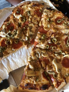 MoonRidge Brewing Company pizza crust made from spent grands from the beer brewing process.