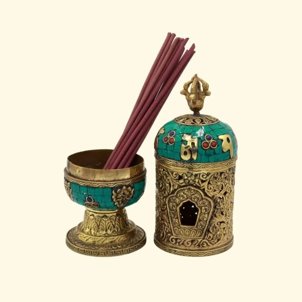 traditional turquoise and brass incense holder - inbu003 2