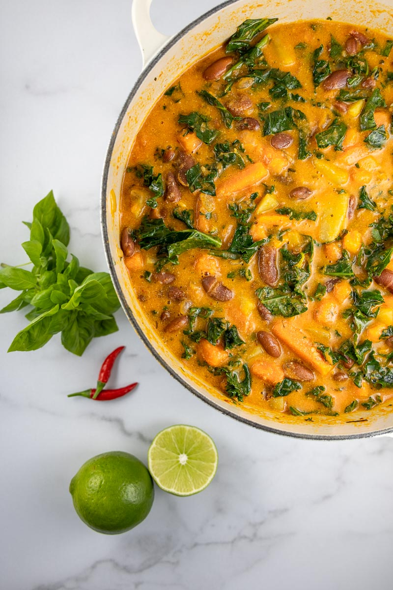 picture of vegan panang curry soup with kale, beans and sweet potatoes