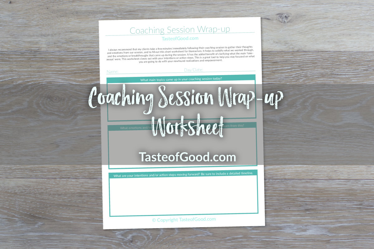 Coaching Session Wrap Up Worksheet
