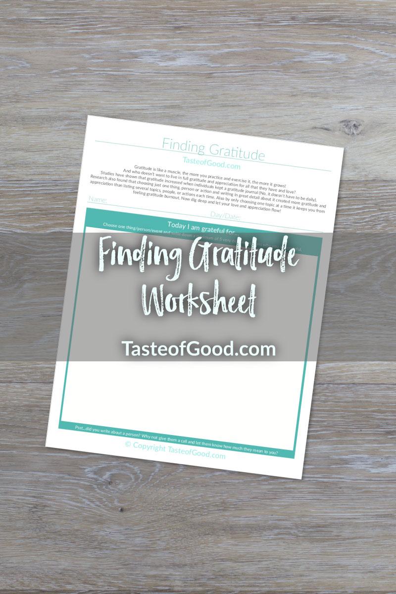 Finding Gratitude Worksheet