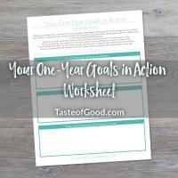 Your One Year Goals in Action Worksheet