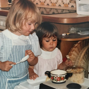 Picture of Stephanie as a child with her older sister Jessica