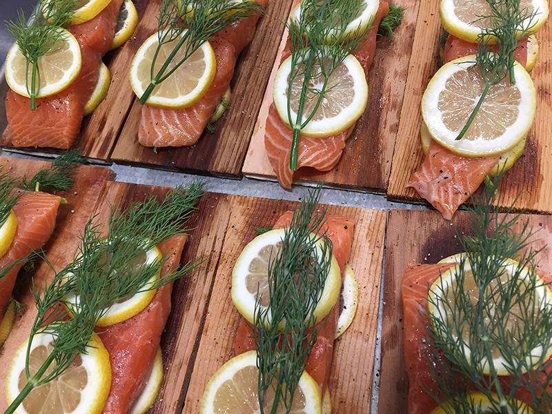 Chef Neal Meier Catering Cedar Plank Salmon