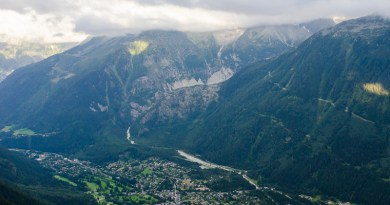 Looking down on Chamonix