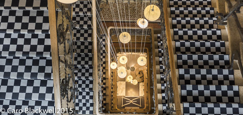 Looking down the impressive staircase in Hotel Mont Blanc, Chamonix