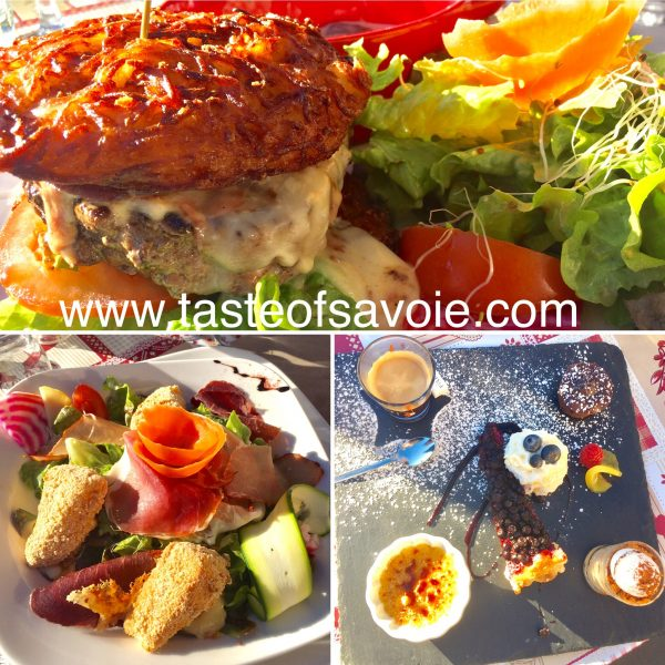 A great burger lunch, Salade Montagnard and a Cafe Gourmand