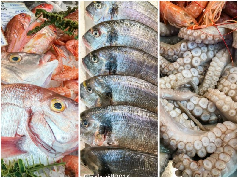 Beautifully displayed selection of fresh fish and seafood at the mercato on Piazza Wagner, Milan