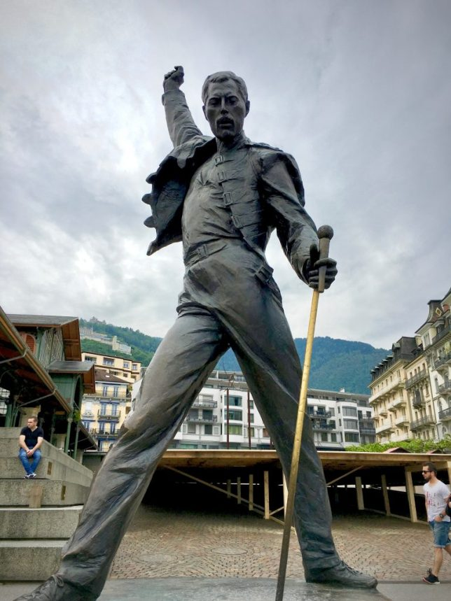 The Freddie Mercury statue on the boardwalk at Montreux