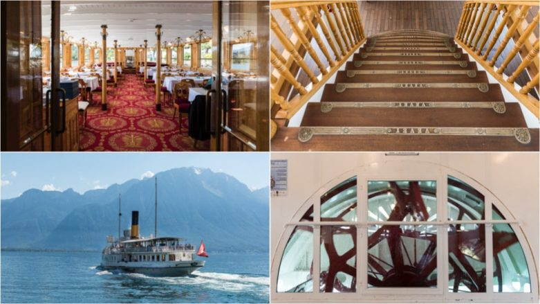 SS Vevey - the dining room, the stairway and the turning paddlewheel