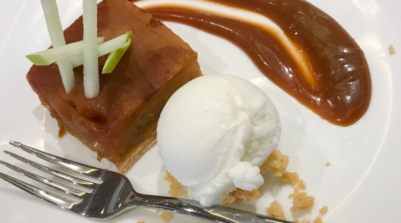 Apples cooked for 10 hours with a caramel beurre salé, shortbread and sorbet yogurt