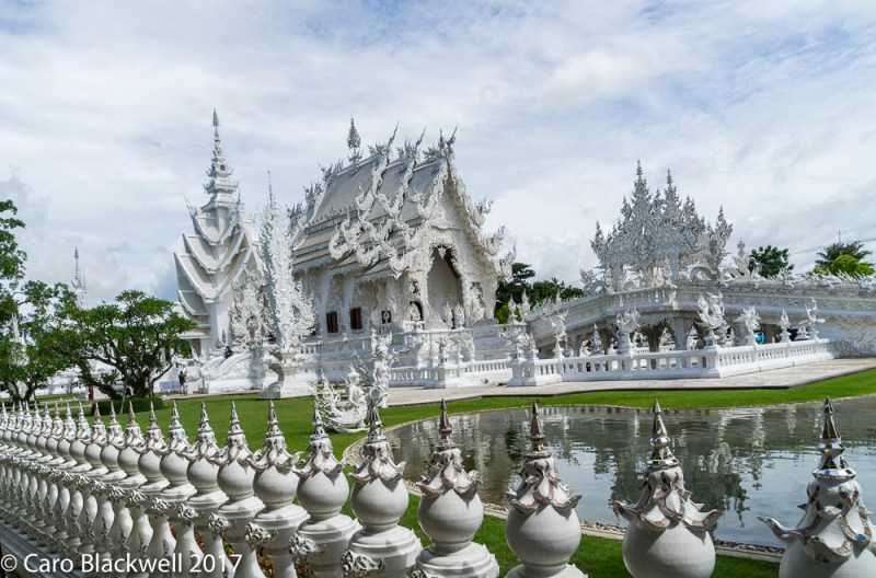 First sight of the amazing White Temple in Chiang Rai