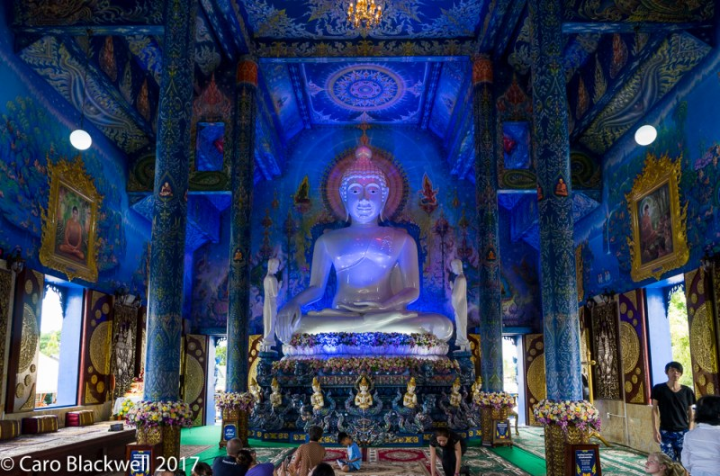 The incredible huge White Buddha in the highly decorated main temple
