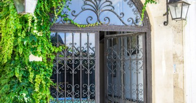 Gorgeous Wrought Iron Gates to the enclosed garden at Chez Castillon