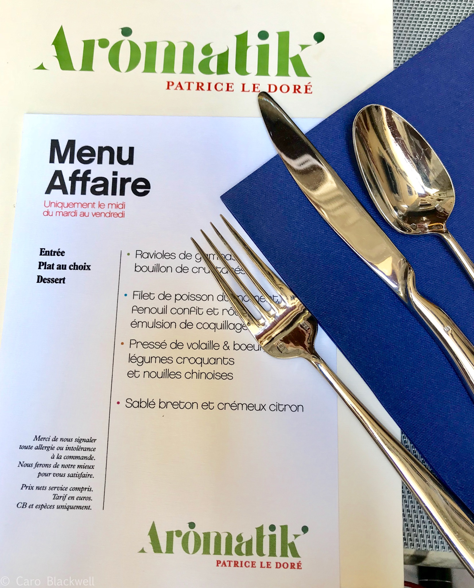 Menu Affaire at Aromatik Restaurant Annecy