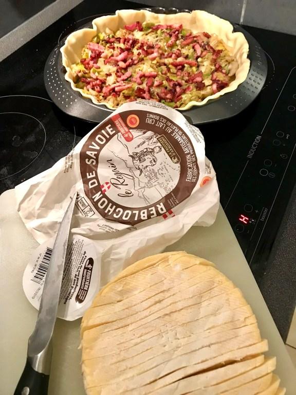 Leek, bacon, mushroom and Reblochon Tart ingredients