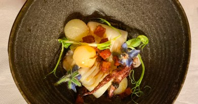 Squid dish on tasting menu at Ferme de Montagne