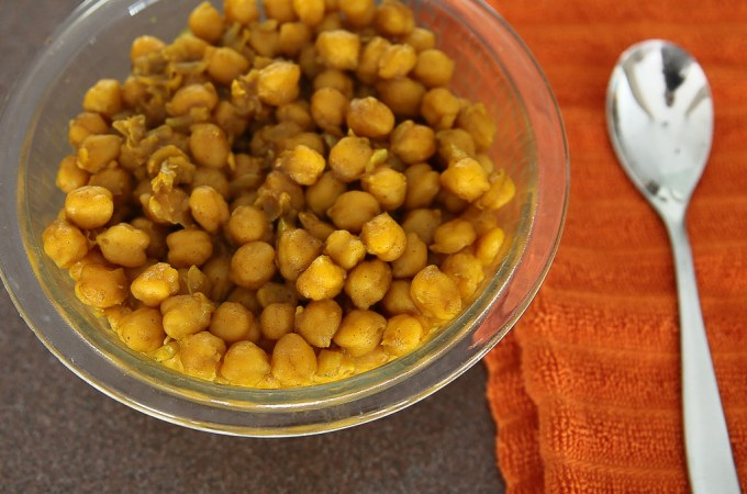 Pictured above is sauteed chickpeas, South Sudan food, Sudanese food, Mediterranean recipe.