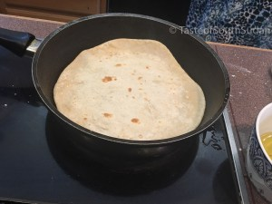 Cooking chapati in a pan, Taste of South Sudan recipe, Kenyan recipe, Ugandan recipe, East African Chapati, chapos